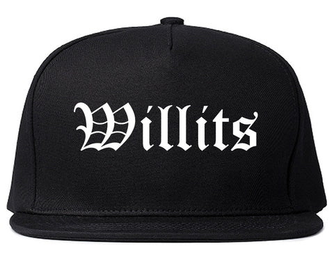 Willits California CA Old English Mens Snapback Hat Black