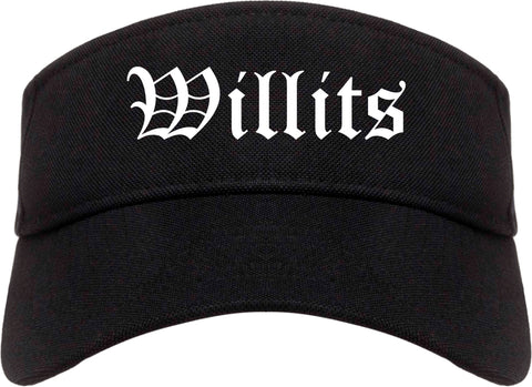 Willits California CA Old English Mens Visor Cap Hat Black