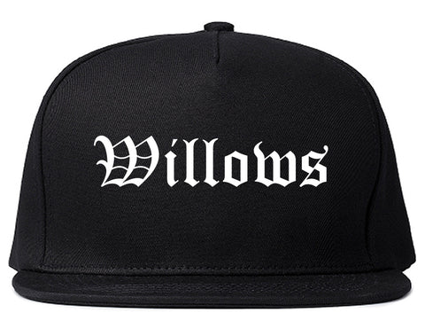 Willows California CA Old English Mens Snapback Hat Black