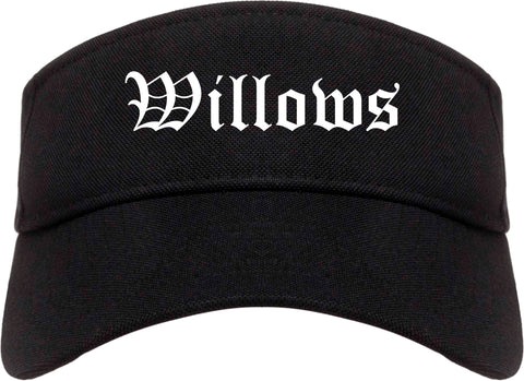 Willows California CA Old English Mens Visor Cap Hat Black