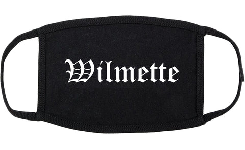Wilmette Illinois IL Old English Cotton Face Mask Black