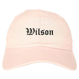 Wilson North Carolina NC Old English Mens Dad Hat Baseball Cap Pink