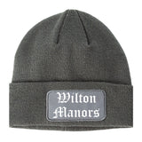 Wilton Manors Florida FL Old English Mens Knit Beanie Hat Cap Grey