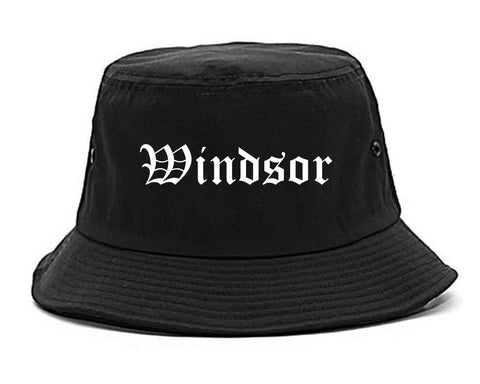 Windsor California CA Old English Mens Bucket Hat Black