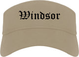 Windsor California CA Old English Mens Visor Cap Hat Khaki