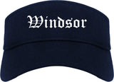 Windsor California CA Old English Mens Visor Cap Hat Navy Blue