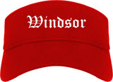 Windsor California CA Old English Mens Visor Cap Hat Red