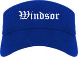 Windsor California CA Old English Mens Visor Cap Hat Royal Blue