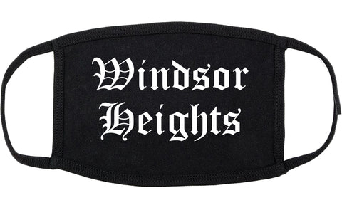Windsor Heights Iowa IA Old English Cotton Face Mask Black