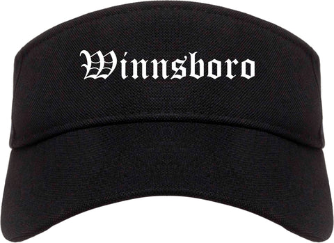 Winnsboro Louisiana LA Old English Mens Visor Cap Hat Black