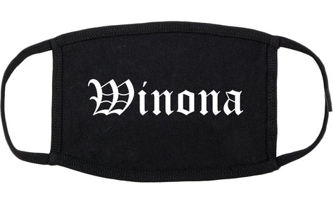 Winona Mississippi MS Old English Cotton Face Mask Black