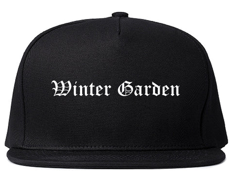 Winter Garden Florida FL Old English Mens Snapback Hat Black