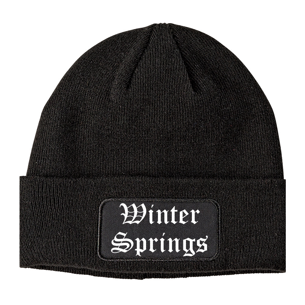 Winter Springs Florida FL Old English Mens Knit Beanie Hat Cap Black