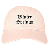 Winter Springs Florida FL Old English Mens Dad Hat Baseball Cap Pink
