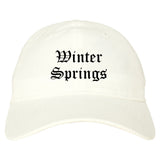 Winter Springs Florida FL Old English Mens Dad Hat Baseball Cap White