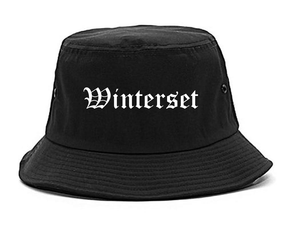 Winterset Iowa IA Old English Mens Bucket Hat Black