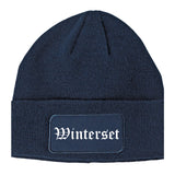 Winterset Iowa IA Old English Mens Knit Beanie Hat Cap Navy Blue