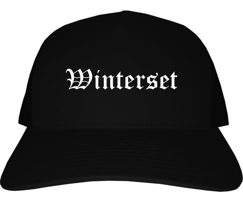Winterset Iowa IA Old English Mens Trucker Hat Cap Black