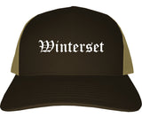 Winterset Iowa IA Old English Mens Trucker Hat Cap Brown