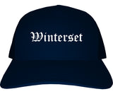 Winterset Iowa IA Old English Mens Trucker Hat Cap Navy Blue