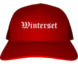 Winterset Iowa IA Old English Mens Trucker Hat Cap Red