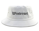 Winterset Iowa IA Old English Mens Bucket Hat White