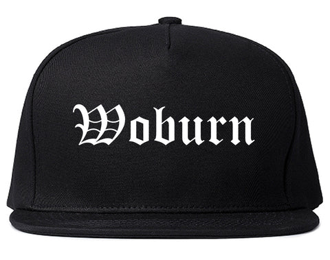Woburn Massachusetts MA Old English Mens Snapback Hat Black