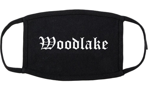 Woodlake California CA Old English Cotton Face Mask Black