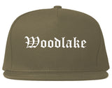 Woodlake California CA Old English Mens Snapback Hat Grey