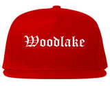 Woodlake California CA Old English Mens Snapback Hat Red
