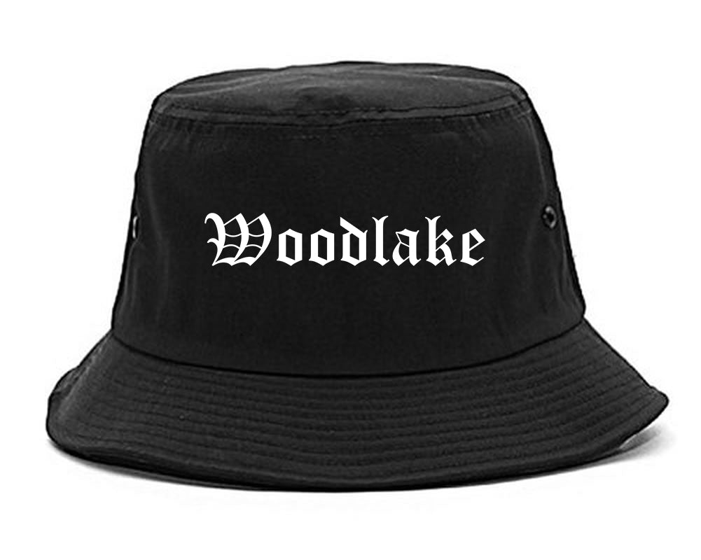Woodlake California CA Old English Mens Bucket Hat Black