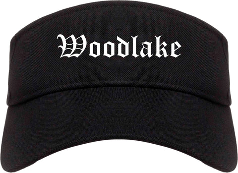 Woodlake California CA Old English Mens Visor Cap Hat Black