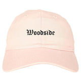Woodside California CA Old English Mens Dad Hat Baseball Cap Pink