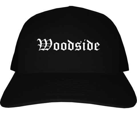 Woodside California CA Old English Mens Trucker Hat Cap Black