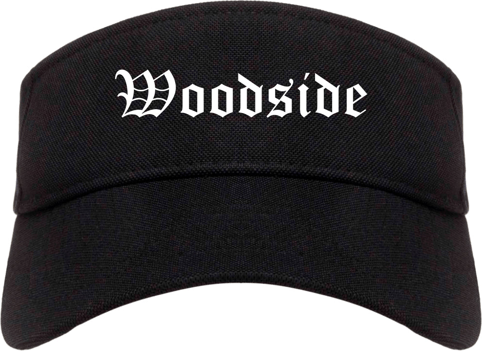 Woodside California CA Old English Mens Visor Cap Hat Black