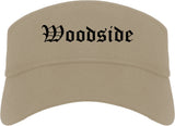 Woodside California CA Old English Mens Visor Cap Hat Khaki