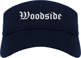 Woodside California CA Old English Mens Visor Cap Hat Navy Blue
