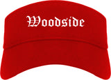 Woodside California CA Old English Mens Visor Cap Hat Red