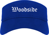 Woodside California CA Old English Mens Visor Cap Hat Royal Blue
