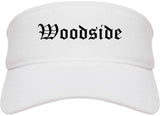 Woodside California CA Old English Mens Visor Cap Hat White