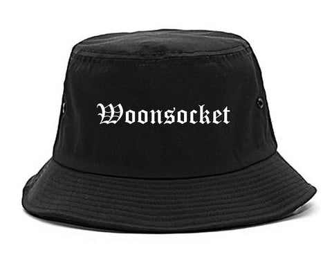 Woonsocket Rhode Island RI Old English Mens Bucket Hat Black