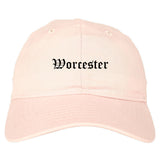 Worcester Massachusetts MA Old English Mens Dad Hat Baseball Cap Pink