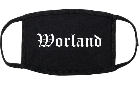Worland Wyoming WY Old English Cotton Face Mask Black