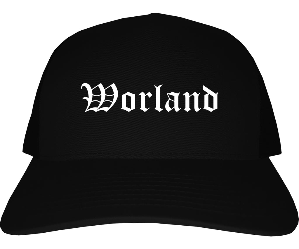 Worland Wyoming WY Old English Mens Trucker Hat Cap Black