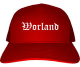 Worland Wyoming WY Old English Mens Trucker Hat Cap Red