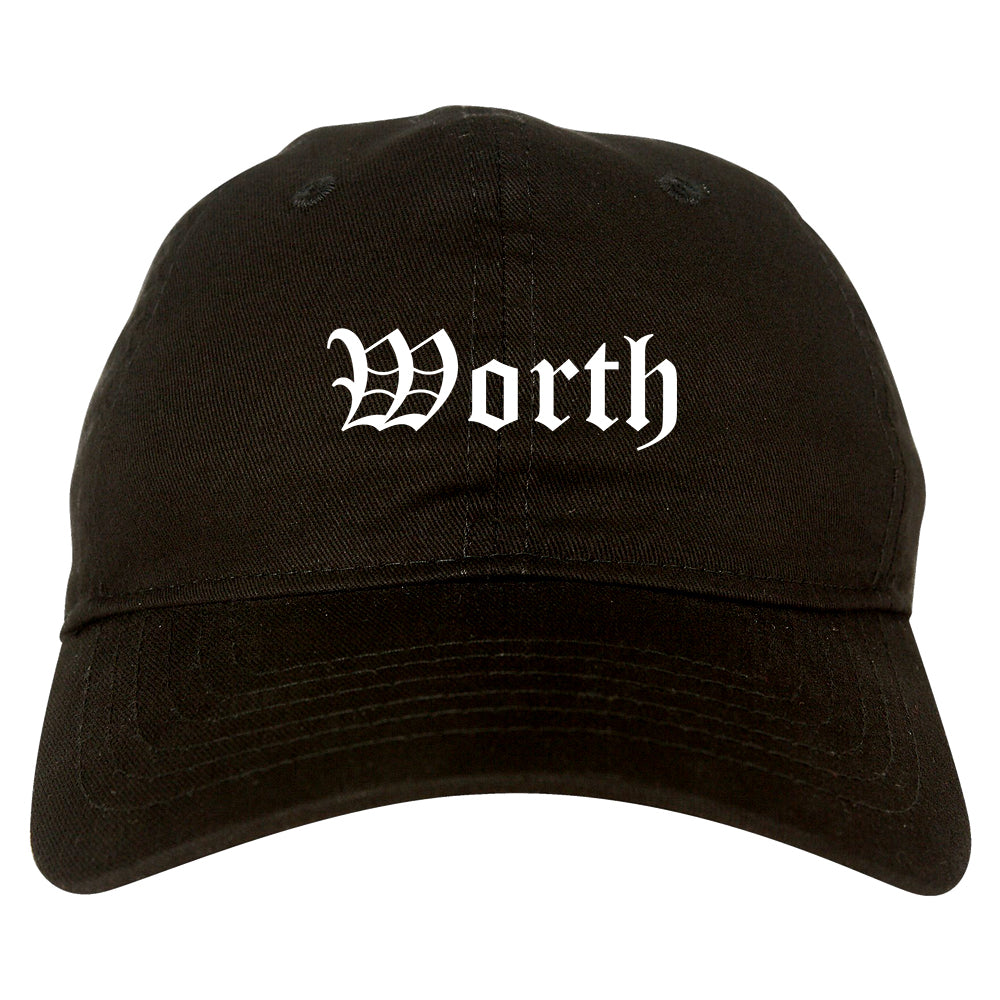 Worth Illinois IL Old English Mens Dad Hat Baseball Cap Black