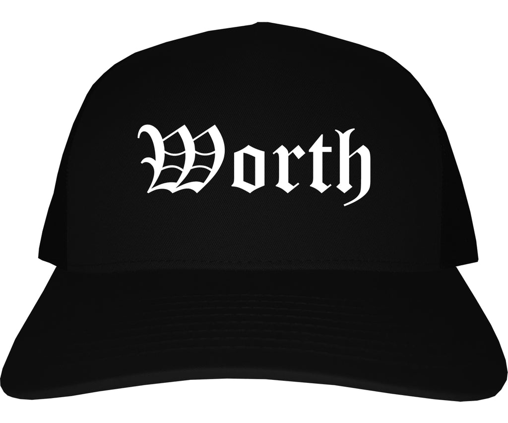 Worth Illinois IL Old English Mens Trucker Hat Cap Black