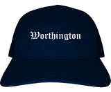 Worthington Minnesota MN Old English Mens Trucker Hat Cap Navy Blue