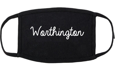 Worthington Minnesota MN Script Cotton Face Mask Black