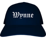 Wynne Arkansas AR Old English Mens Trucker Hat Cap Navy Blue